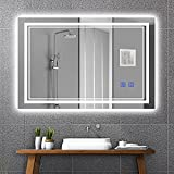 Ruinnykai LED Bathroom Wall-Mounted Mirror Anti-Fog Makeup Mirror with Dimmable Light and Touch Button(Horizontal/Vertical) (36 x 28 Inch)