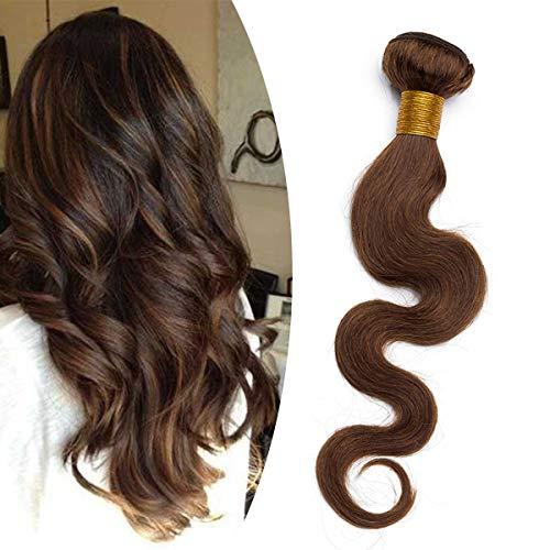 Tissage Naturel Cheveux Humain Ondulé #4 MARRON CHOCOLAT Meches Rajout Extension Cheveux Naturel Sans Clips - 10 Pouce / 25cm