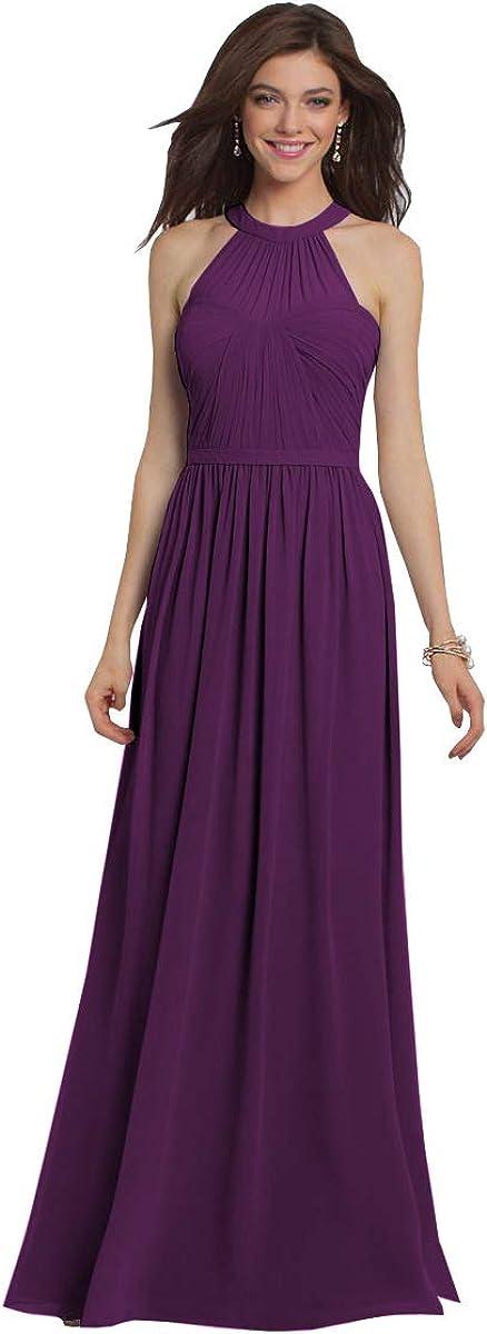 Women's Halter A Line Long Colorado Springs Mall Dress Bridesmaid Chiffon Minneapolis Mall Pleated Even