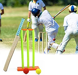 Hamkaw Kids Cricket Set, Cricket Stumps Spring Base,Backyard Cricket Sets - Kwik Cricket -NBR Rubber Water Proof Contents Bat, Ball, Stumps, Bail.