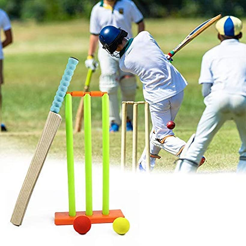 Hamkaw Cricket Stumps Spring Base, Backyard Cricket Sets - Kwik Cricket -MBR Rubber Water Proof Contents Bat, Ball, Stumps, Bail.