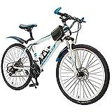HHORB Mountainbike 20 Zoll, 22 Zoll, 24 Zoll, 26 Zoll Fahrradrahmen Aus Aluminiumlegierung, Männliches Und Weibliches Outdoor-Sport-Rennrad, Vier Farben Sind Verfügbar,Weiß,26