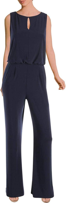 Lauren Ralph Lauren Womens Sleeveless Keyhole Jumpsuit Navy 12