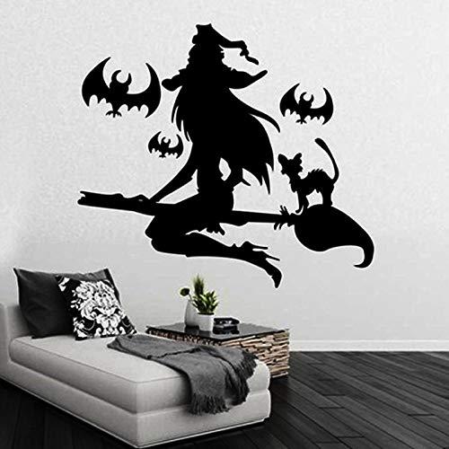 Wandtattoo Wandsticker Wandaufkleber,Halloween Hexe Besen Fledermaus Schlafzimmer Glas Fenster Aufkleber Gemalt Wandaufkleber,