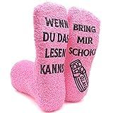 iZoeL Witzige Socken mit Geschenkbox Herr Frau Freundin Spruch Wenn Du Das Lesen Kannst Bring mir Schokolade/Kaffee/Wein Lustige Adventskalender Weihnachten Valentine Geschenk (Pink Schokolade)