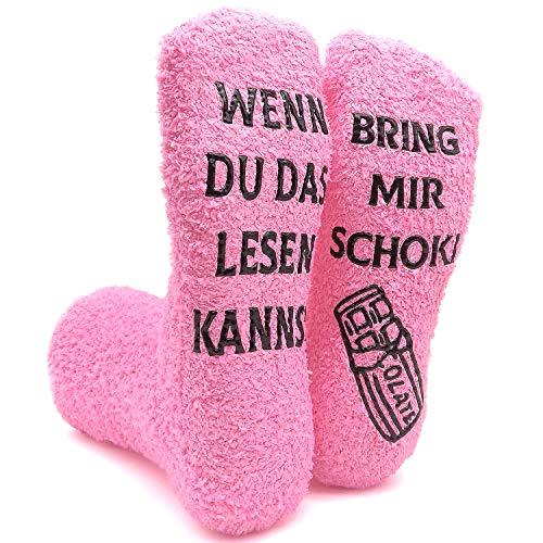 iZoeL Lustige Socken für Frauen Freundin Herr Damen Kuschelsocken mit Spruch Wenn Du Das Lesen Kannst Bring mir Schokolade Kaffee Wein Witzige Geschenk Valentine (Pink Schokolade Socken)