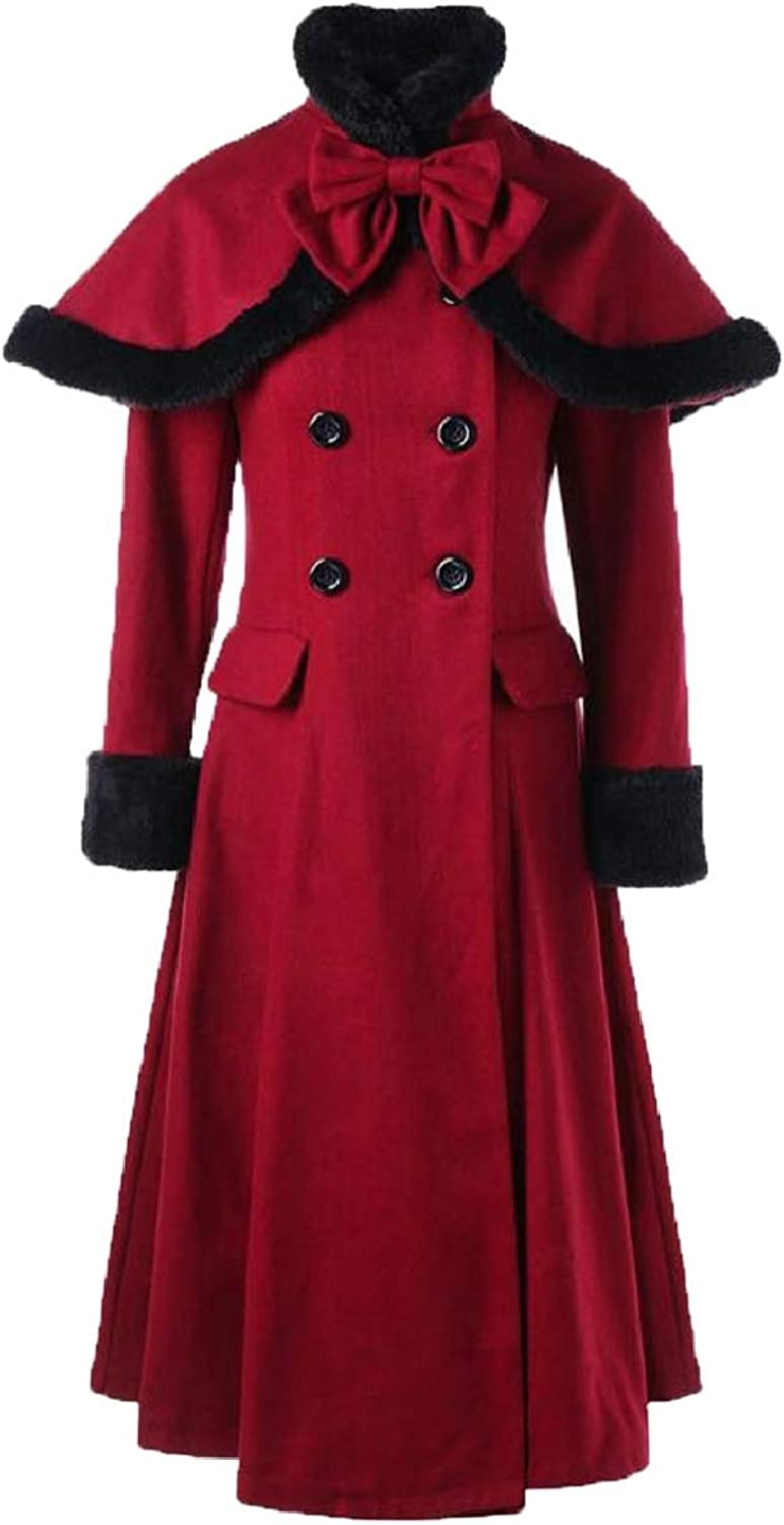 Xswsy XGCA Womens Vintage Faux Fur Collar DoubleBreasted Slim Woolen Coat