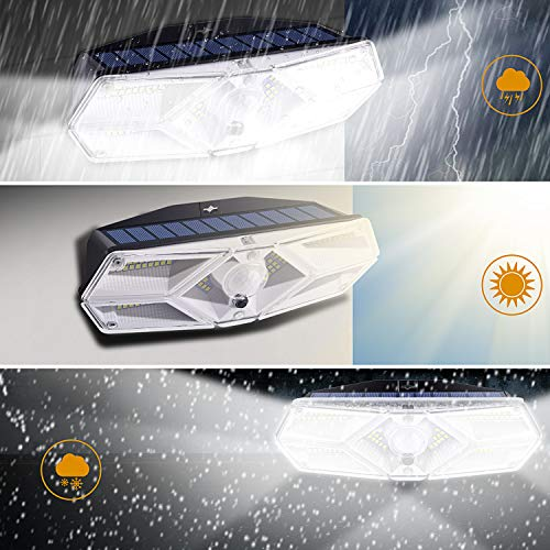 Ellecutteyi Solar Lights Outdoor Solar Security Lights 104 LED 3 Modes Motion Sensor Lights with Lights Reflector Wireless Waterproof Outdoor Solar Wall Lights Wide Angle Solar Powered Lights 2 Pack