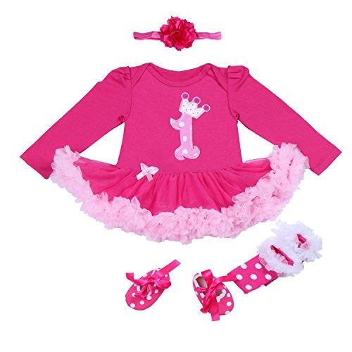 BabyPreg Bebé niñas Patrón de la Corona 1er cumpleaños Vestido Tutu Diadema Zapatos 4 Piezas (12-18 Meses, Rosa Caliente)