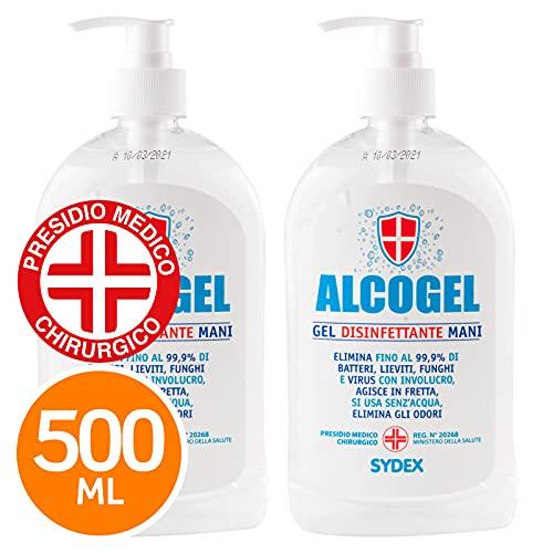 Eurocali Gel Disinfettante Mani Professionale Igienizzante Antibatterico - Presidio Medico Chirurgico Elimina Odori Fino al 99,9% di Germi Funghi Batteri e Virus (2X 500ml)