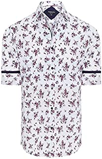 Tarocash Men's Blanc Slim Floral Print Shirt Cotton Slim Fit Long Sleeve Sizes XS-5XL for Going Out Smart Occasionwear
