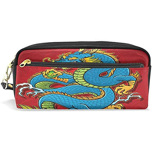 Cosmetic Bag, opgerolde Chinese draak-make-up-tas, premium penhouder voor kantoor wandeltochten