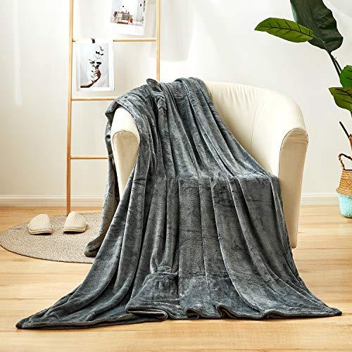 CHIXIN Kuscheldecke Grau kleine Wohndecke Sofadecke/Couchdecke Decke Microfaser Mikrofaserdecke Fleecedecke TV-Decke, kuschel Wohndecken Kuscheldecken, 150x180cm, Sofaüberwurf mit Taschen