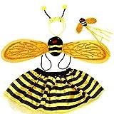 Egosy - Disfraz de abeja para niña de 4 piezas, juego con alas de hada, tutú, falda, cinta para la frente, disfraz de fiesta para niños, regalo para niños