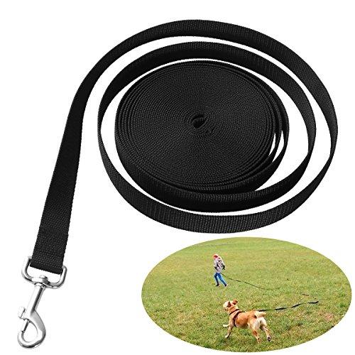 UEETEK Perro obediente cuerda Nylon largo mascota perro formación correa de entrenamiento llevar negro 10M