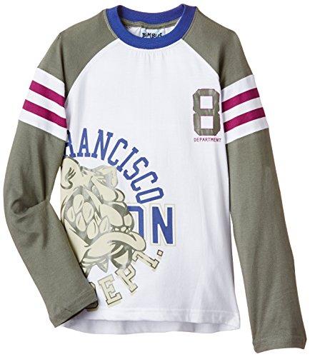 BIMBUS - Maglietta T-Shirt M/L Jersey Bicolore con Stampa, Bianco (001...