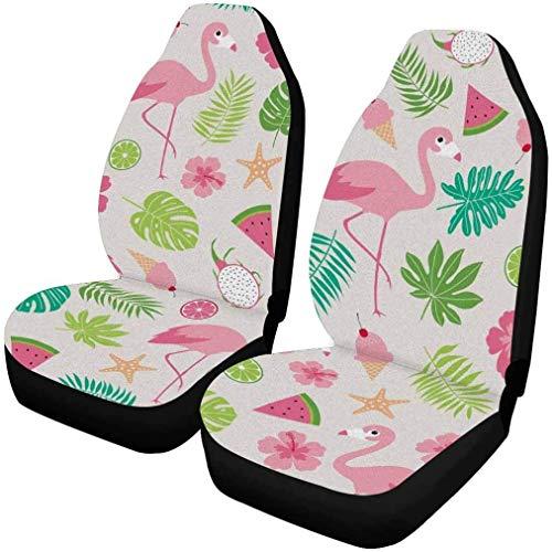 BONRI Flamingo con Plumas Blancas 1 par de Protectores de poliéster para Fundas de Asiento de Coche para Asientos Delanteros-Multi 02