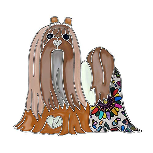 CLEARNICE Aleación De Esmalte Dulce Broches De Perro Maltés Lindo Animal Bufanda Ropa Decoración Pin Joyería para Mujeres Niñas Adolescentes Regalo Mascotas