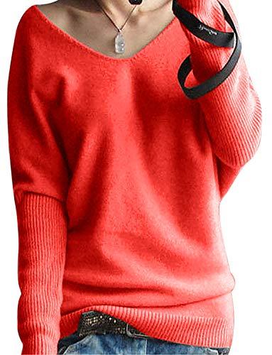 Yidarton Kaschmir Pullover Damen V-Ausschnitt Oversized Pullover Strickpullover Oberteil Damen