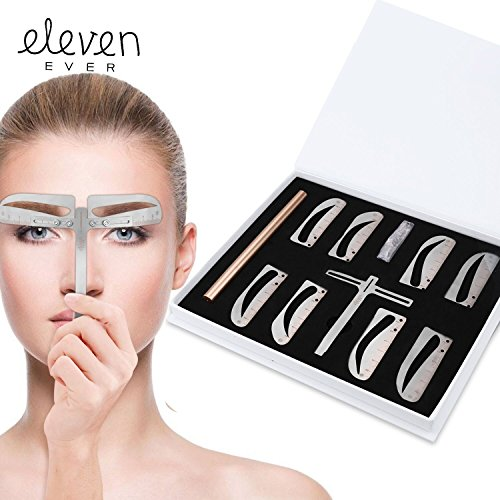 Eleven Ever sopracciglio stencil Ruler kit–include 4gruppo sopracciglio stencil e una matita per sopracciglia trucco permanente Tools