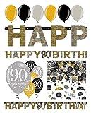 Feste Feiern Geburtstagsdeko 90. Geburtstag 14 Teile Deko-Set Luftballon Banner Girlande Tischkonfetti Gold Schwarz Silber metallic Party Happy Birthday 90