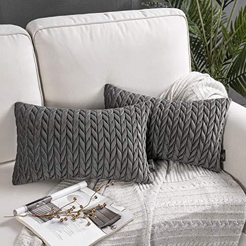 Phantoscope - Juego de 2 fundas de almohada de terciopelo para sofá, cama y silla, Gris oscuro, 12' x 20'