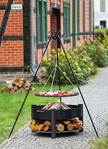 BlackOrange Brasero Wood-Stock - Diamètre : 60 cm - Avec grill pivotant - Hauteur : 180 cm - Grille en acier - Diamètre : 50 cm