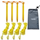Top Lander Aluminum Tent Stakes Peg and 8 Reflective Guylines with Cord Adjuster, A Good Travel Accessory Kit for Camping Hiking and Other Outdoor Recreation(4 Peg & 4 Ropes)