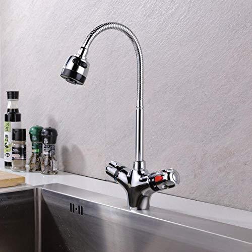 Sólido acabado de latón cromado mezclador de cocina grifo de agua fría y caliente de la cocina grifo mezclador termostático de la temperatura constante grifo del lavabo