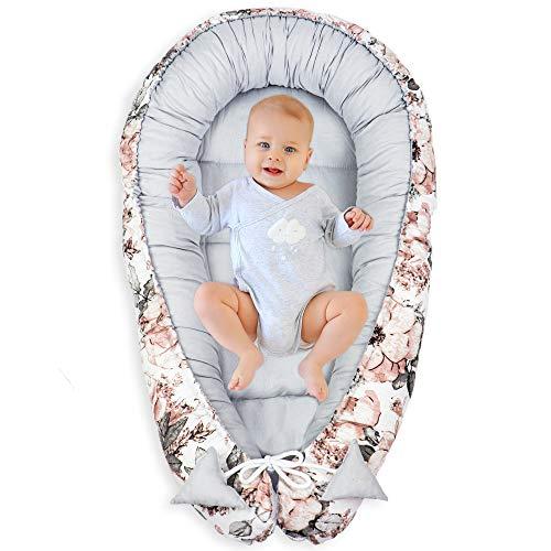 Babynest Kokon Neugeborene - Handmade Kuschelnest Baby Nestchen aus Baumwolle mit Oeko-Tex Zertifikat (Wilde Rose - Graue Baumwolle, 90 x 50 cm)