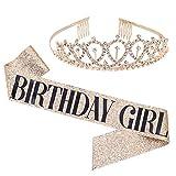Birthday Girl Sash & Rhinestone Tiara Kit - Gold Glitter Birthday Gifts Birthday Sash for Women Birthday Party Supplies