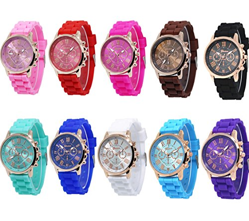 CdyBox Women Men Kids Silicone Band Analog Quartz Casual Watches Jelly Color Unisex Bracelet (10 Pack)