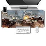 STDNJQ® 3xl extended gaming mouse mat/pad Guerra de tanques de Cannon Fire City 800x300x3mm/31.5x11.8x0.118 inch Superficie lisa de una gran alfombra de goma antideslizante Gaming Mouse Pad Gamers Ord
