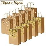 20 Piezas Bolsas de papel kraft con asas, hechas de papel kraft, respetuosas con el medio ambiente y más duraderas(15 * 7.8 * 21CM)Marrón