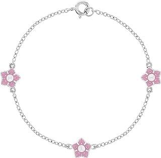 "925 Sterling Silver White Simulated Pearl Pink Enamel Flower Bracelet Girls 6"""