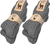 normani 4 Paar sehr Dicke Flauschige warme Alpaka Socken - mit Alpakawolle Farbe Mittelgrau Größe 43/46
