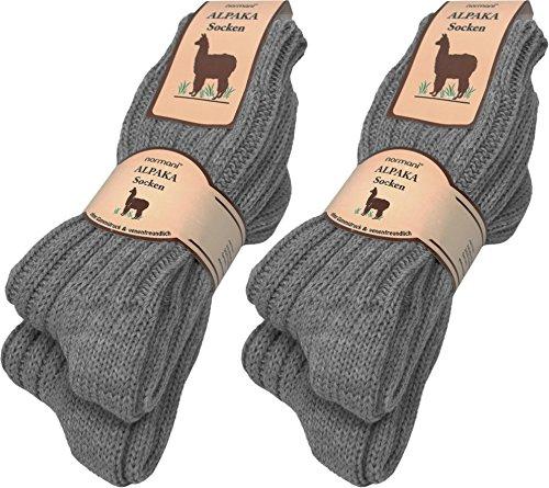 normani 4 Paar sehr Dicke Flauschige warme Alpaka Socken - mit Alpakawolle Farbe Mittelgrau Größe 39/42