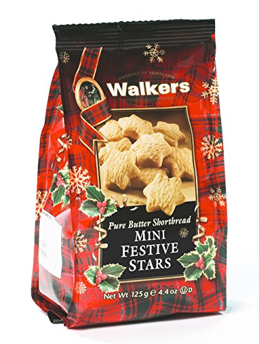 Walkers Shortbread Mini Festive Stars Shortbread Holiday Cookies, 4.4-Ounce Bag (Pack of 6)