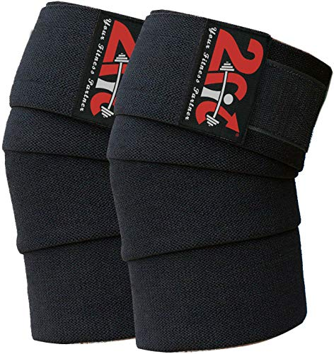 2Fit Knee Wraps Weight Lifting Elasticated Bandage Straps Knee Guard...