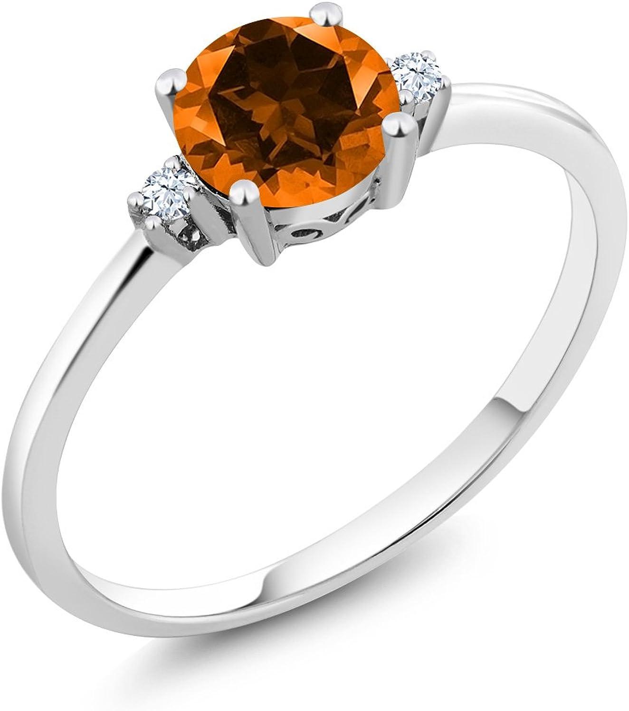 10K White gold 3 Stone Ring Round Poppy Swarovski Topaz White Created Sapphire (1.03 cttw)
