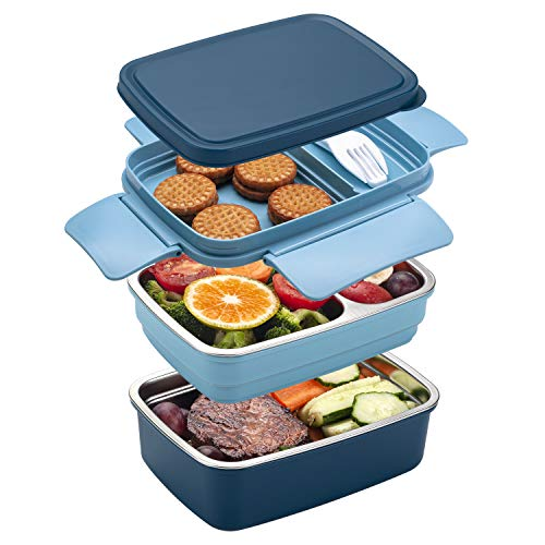 Freshmage Stainless Steel Bento Box for Adults & Kids, Leakproof Stackable Large Capacity Dishwasher Safe Lunch Container with Divided Compartments, Blue