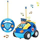 OCDAY Voiture Télécommandée RC Camion de Police/Course Jouet pour les Bébés et les Enfants (Bleu)