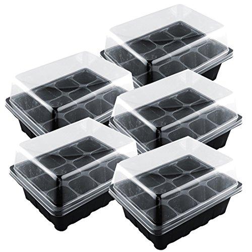 Seciie 5St. Kunststoff Anzuchtplatte Topfplatte Anzuchttöpfe Samen Tablett, Gewächshaus Anzuchttöpfe mit 12 Pflanzlöchern, 18,7x14,5x11cm
