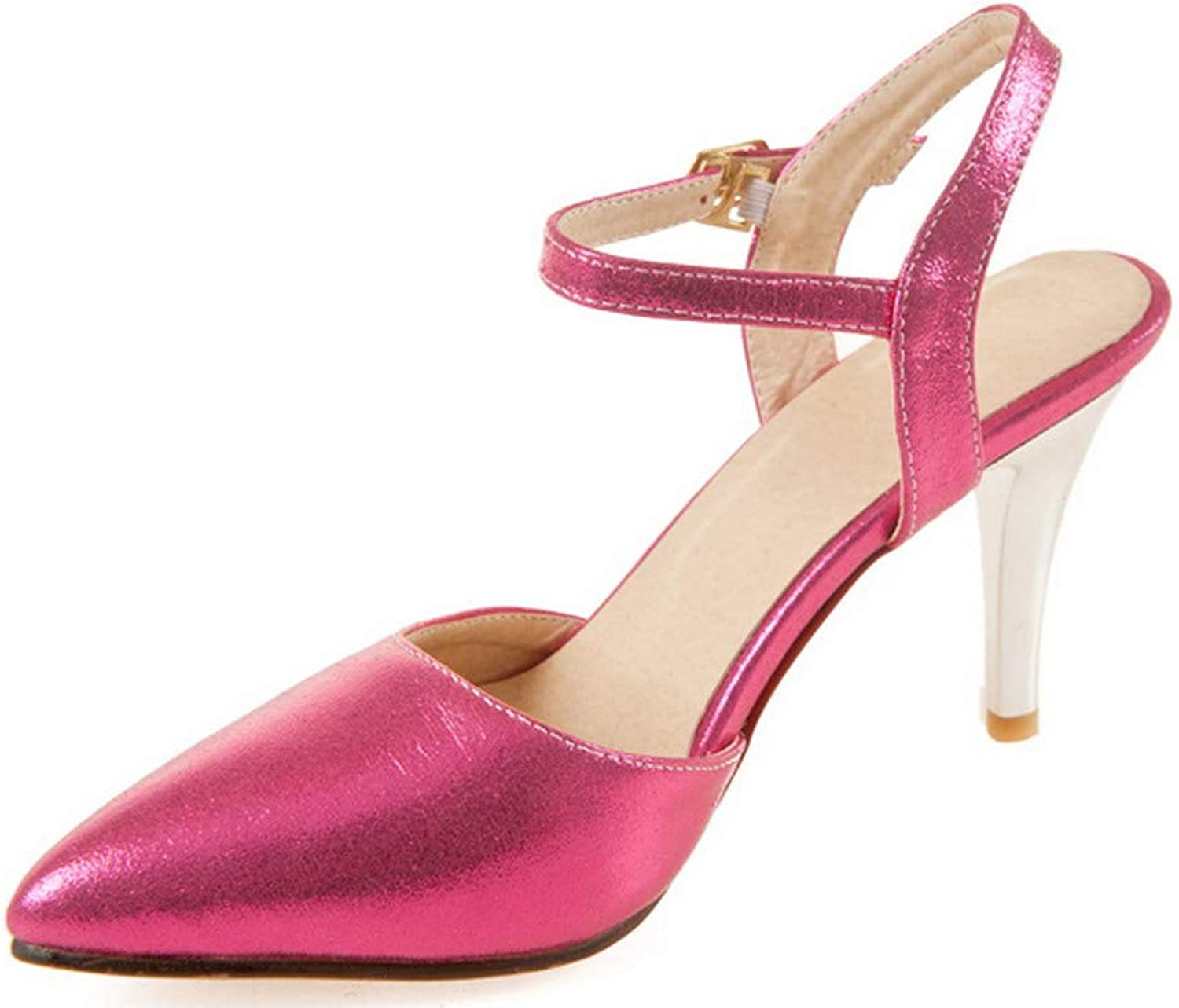 AllhqFashion Women's Buckle High-Heels Pu Solid Pointed Closed Toe Pumps-shoes,FBUDD012306