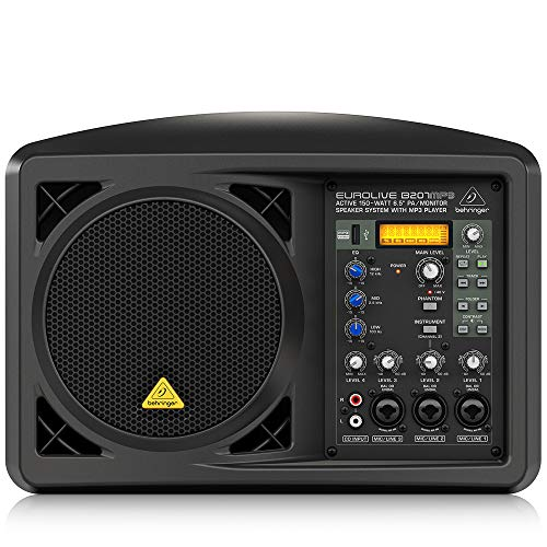 "Behringer Eurolive B207MP3 – Altavoz de Suelo (Active 150Watt 6.5"" PA/Monitor Speaker System with MP3 Player), negro"