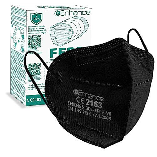 ENHANCE Mascherine FFP2 20 PEZZI con marchio CE protettive, Maschera di protezione FFP2 20 pz mascherine FFP2 (COLORE NERO)