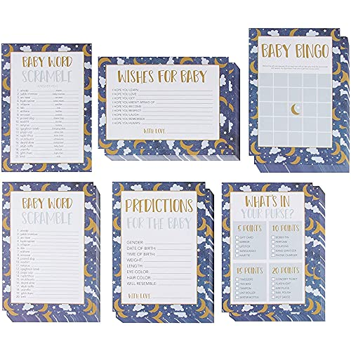 Baby Shower Game Card Packs - 5-Set Party Activity Supplies for 50 Guests, Including Bingo, Word Scramble, and Well Wishes, Moon, Clouds, and Stars Design, 50 Sheets, 5 x 7 Inches