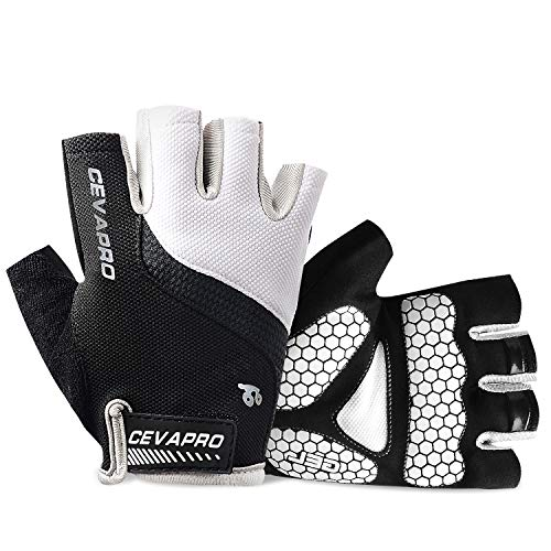 Yobenki Bike Gloves, Breathable Outdoor Cycling Gloves Half Finger Cycling Gloves for Men and Women Anti Slip Shock-Absorbing Mountain Road Bike Gloves for Gym MTB Riding Running Exercising (White,M)