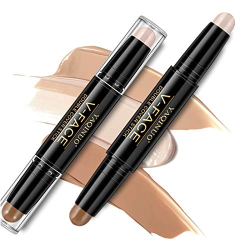 Onlyoily Makeup Doppelenden 2 in 1 Kontur Stift Highlighter Creme Stick Bronzer Concealer Pen - Cremige Textur, Farbton: Light