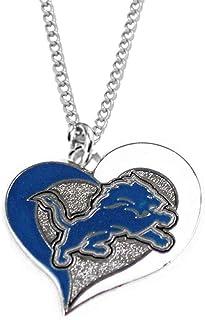 aminco NFL Detroit Lions Sports Team Logo Swirl Heart Necklace